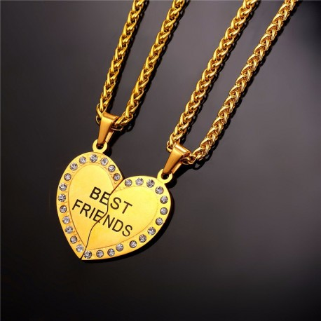 Double collier Best Friends argenté strass