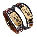 2pcs /lot Bracelets charme Double Coeur Amour En Cuir