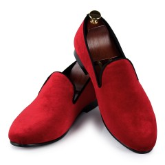 Chaussures Mocassin Rouge velours