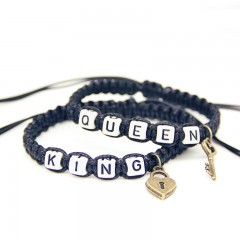 Bracelet ficelle couple King & Queen