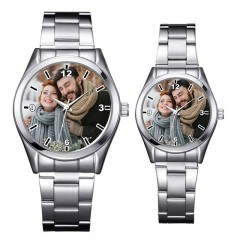 Montre couple personnalisable avec photo  2 en 1