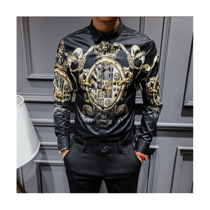 Manches Hommes Longues Camisa Chemise À doxCBe