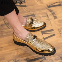 Chaussures hommes marque italienne or paillettes