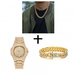 Collier en or + montre + Bracelet Hip Hop Miami