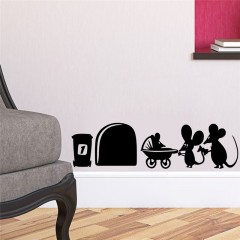 Sticker mural mouse family