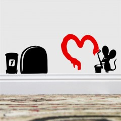 Sticker mural mouse painting heart