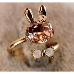 Bow cristal Bowknot lapin annulaire